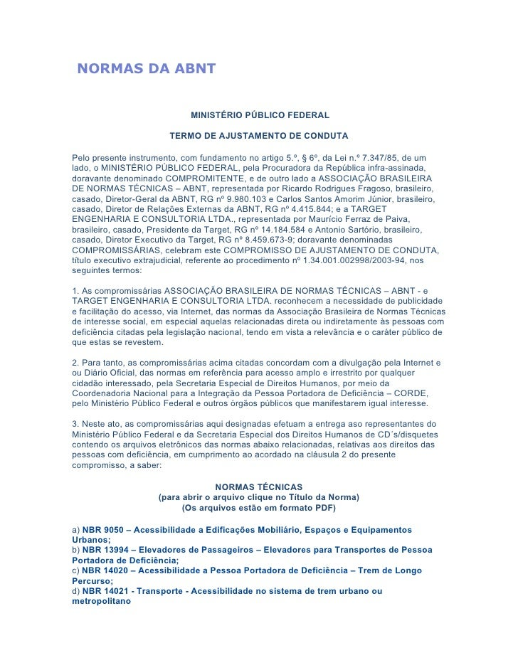 NORMAS DA ABNT                              MINISTÉRIO PÚBLICO FEDERAL                         TERMO DE AJUSTAMENTO DE CON...