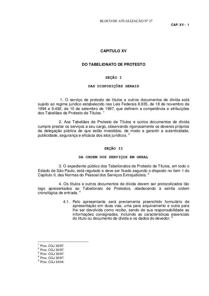 BLOCO DE ATUALIZAÇÃO Nº 27                                                                              CAP. XV - 1       ...