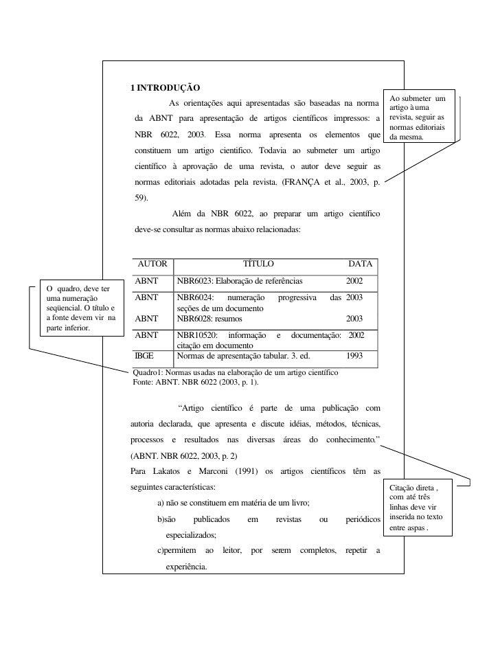 Artigo nas normas da abnt