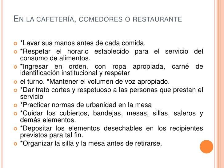 Normas de convivencia for Normas de comportamiento en el restaurante escolar