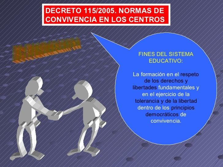 DECRETO 115/2005. NORMAS DE CONVIVENCIA EN LOS CENTROS FINES DEL SISTEMA EDUCATIVO: La formación en el  respeto de los der...