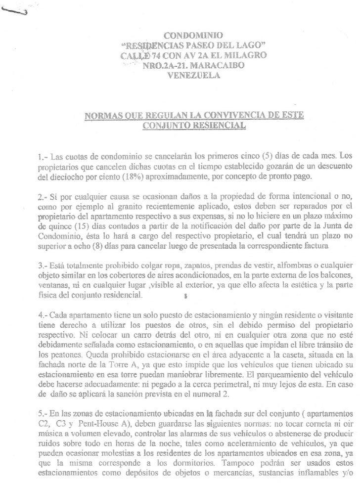 Normas De Convivencia Del Condominio Residencia Paseo Del Lago