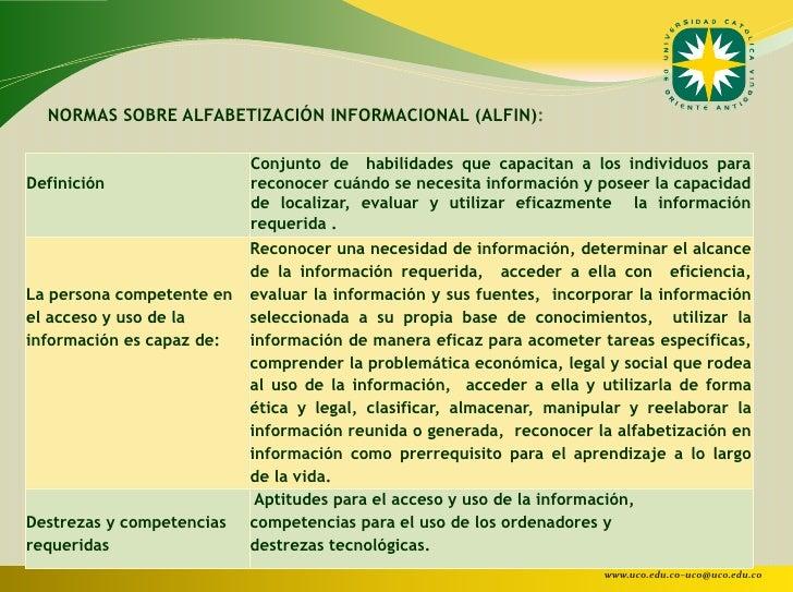 NORMAS SOBRE ALFABETIZACIÓN INFORMACIONAL (ALFIN):                           Conjunto de habilidades que capacitan a los i...