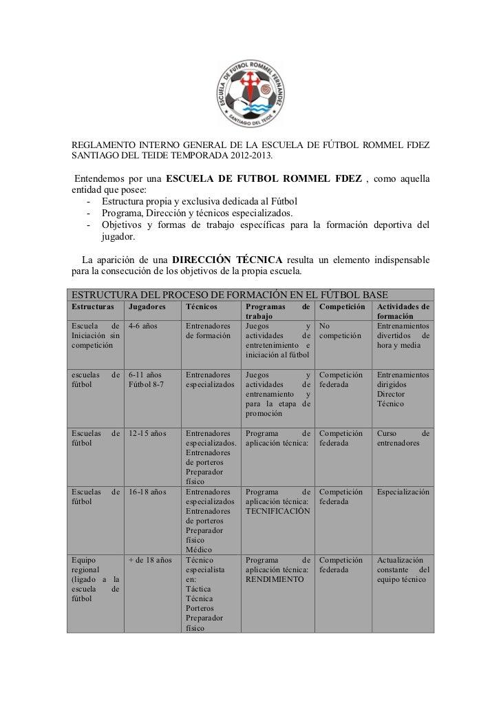 REGLAMENTO INTERNO GENERAL DE LA ESCUELA DE FÚTBOL ROMMEL FDEZSANTIAGO DEL TEIDE TEMPORADA 2012-2013. Entendemos por una E...