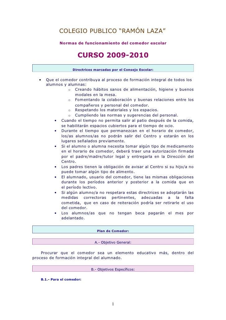 Normas de funcionamiento del comedor escolar for Plan de comedor escolar