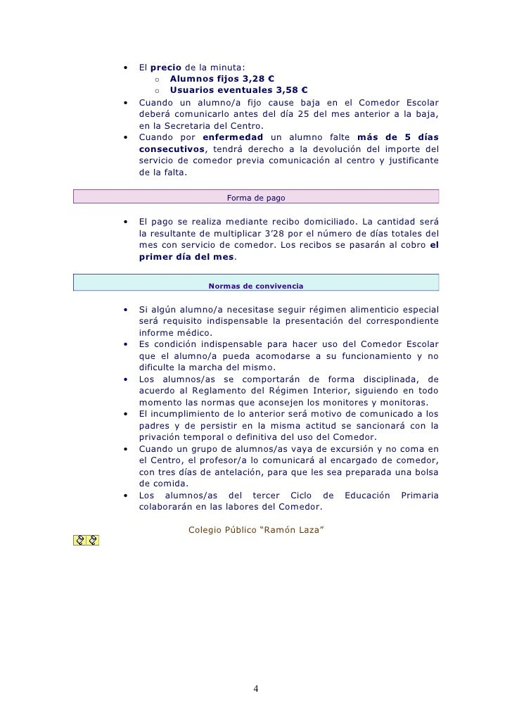 Normas de funcionamiento del comedor escolar for Comedor escolar
