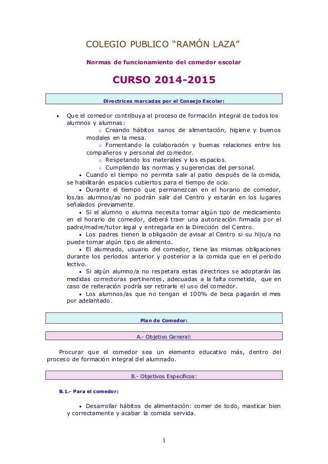 Normas de funcionamiento del comedor escolar curso 2014 2015 for Proyecto educativo de comedor escolar