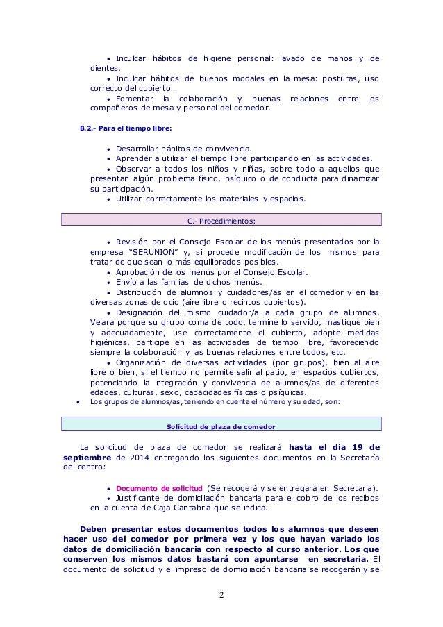 Normas de funcionamiento del comedor escolar curso 2014 2015 for Normas para el comedor escolar
