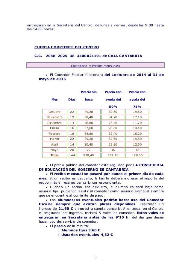 Normas de funcionamiento del comedor escolar curso 2014 2015 - Precio comedor escolar ...