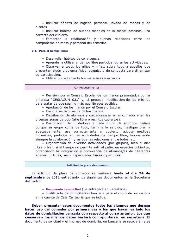 Normas de funcionamiento del comedor escolar 12 13 for Comedor escolar