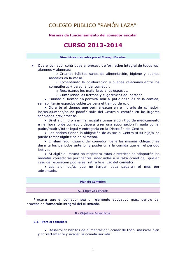 Normas de funcionamiento del comedor escolar 13 14 for Normas para el comedor escolar