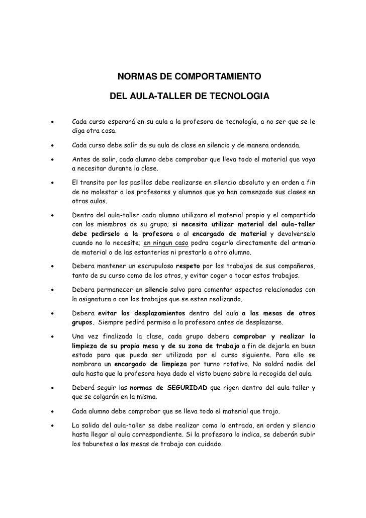 Normas del aula taller tecnologia - El taller de pinero ...
