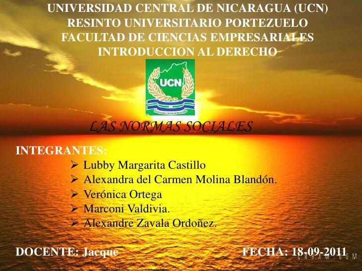UNIVERSIDAD CENTRAL DE NICARAGUA (UCN)        RESINTO UNIVERSITARIO PORTEZUELO       FACULTAD DE CIENCIAS EMPRESARIALES   ...