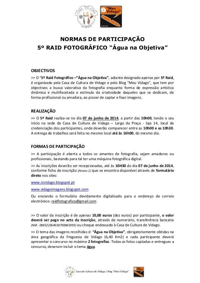 """Casa de Cultura de Vidago / Blog """"Meu Vidago"""" NORMAS DE PARTICIPAÇÃO 5º RAID FOTOGRÁFICO """"Água na Objetiva"""" OBJECTIVOS >> ..."""