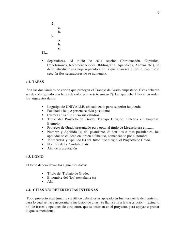Normas de presentacion proyecto de grado
