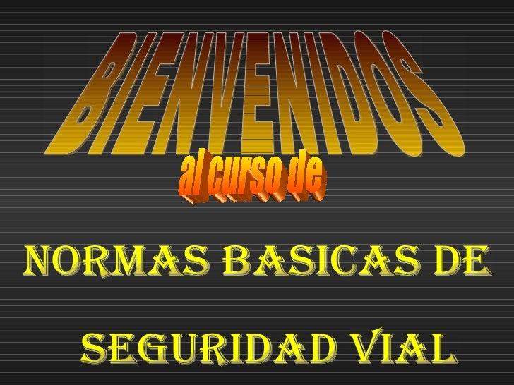 BIENVENIDOS  al curso de  NORMAS BASICAS DE SEGURIDAD VIAL