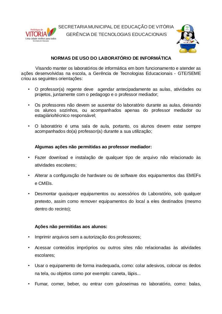 SECRETARIA MUNICIPAL DE EDUCAÇÃO DE VITÓRIA                       GERÊNCIA DE TECNOLOGIAS EDUCACIONAIS               NORMA...