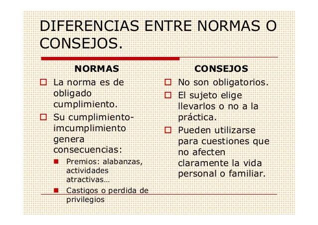 DIFERENCIAS ENTRE NORMAS OCONSEJOS.      NORMAS                   CONSEJOS La norma es de            No son obligatorios. ...