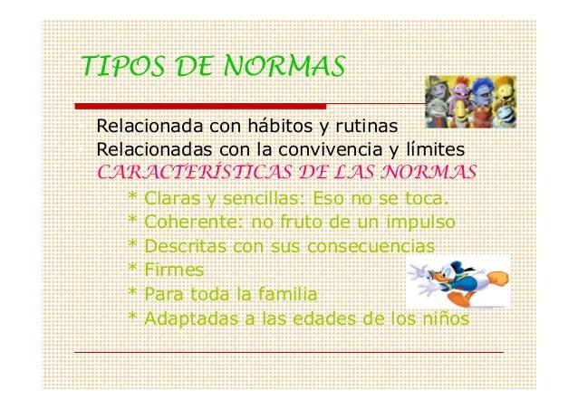 TIPOS DE NORMAS• Relacionada con hábitos y rutinas• Relacionadas con la convivencia y límites  CARACTERÍSTICAS DE LAS NORM...