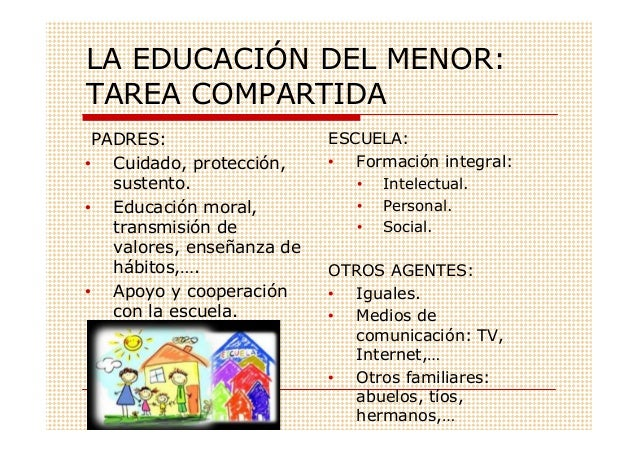 LA EDUCACIÓN DEL MENOR:TAREA COMPARTIDA PADRES:                   ESCUELA:• Cuidado, protección,     • Formación integral:...