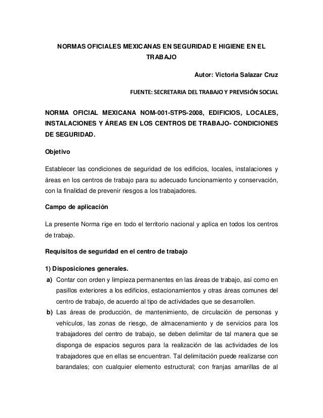 NORMAS OFICIALES MEXICANAS EN SEGURIDAD E HIGIENE EN EL                                     TRABAJO                       ...
