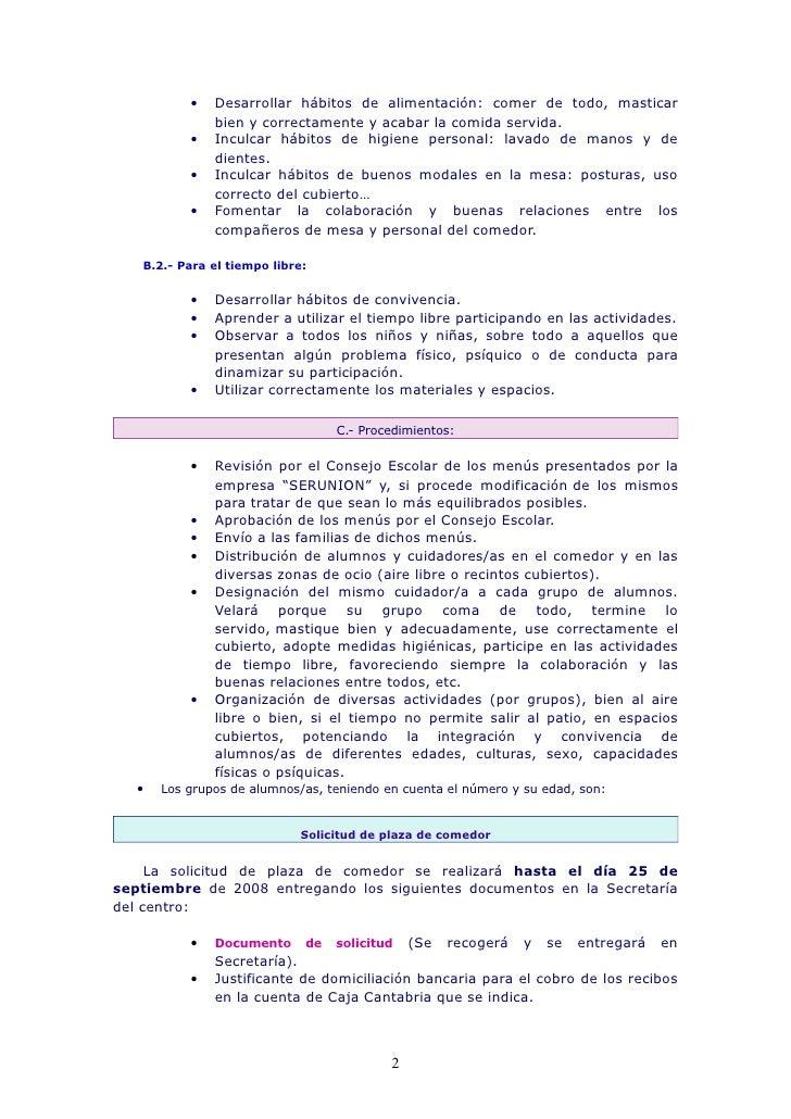 Normas funcionamiento comedor escolar for Comedor escolar