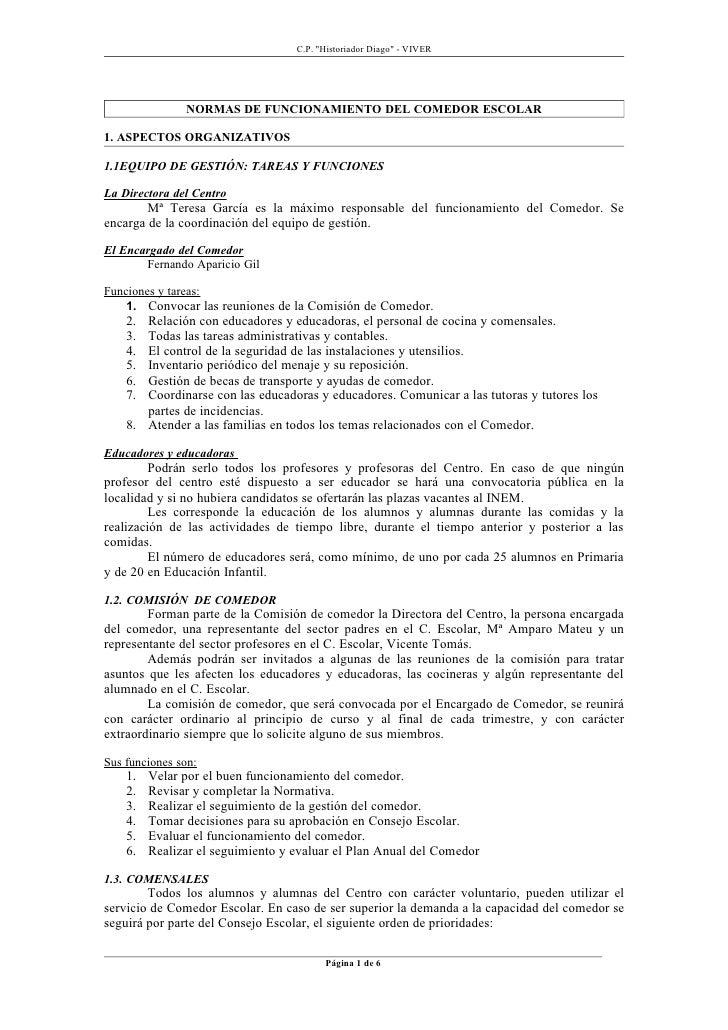 Normas funcionamiento del comedor escolar for Normas para el comedor escolar