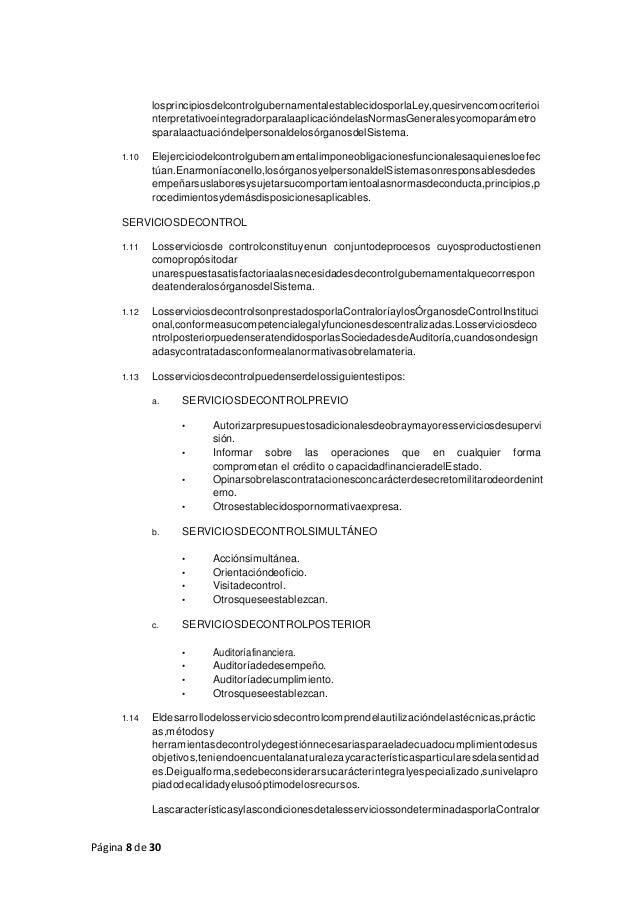 Página 8 de 30 losprincipiosdelcontrolgubernamentalestablecidosporlaLey,quesirvencomocriterioi nterpretativoeintegradorpar...