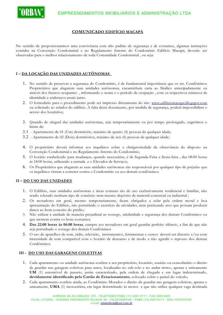 EMPREENDIMENTOS IMOBILIÁRIOS E ADMINISTRAÇÃO LTDA                                     COMUNICADO EDIFÍCIO MACAPÁ   No sent...