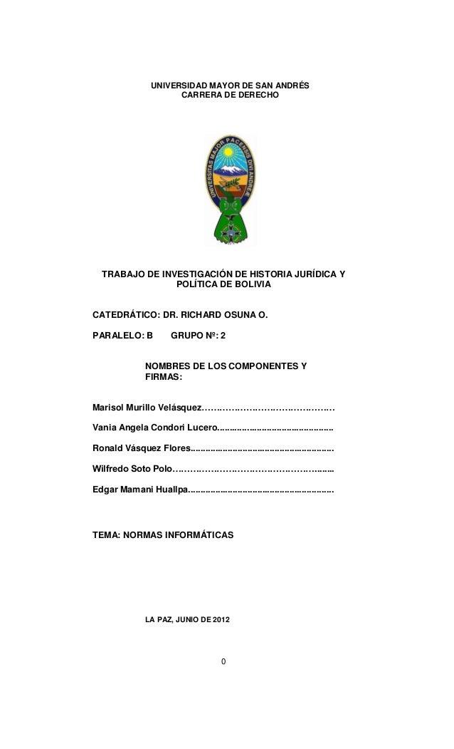 UNIVERSIDAD MAYOR DE SAN ANDRÉS                         CARRERA DE DERECHO   TRABAJO DE INVESTIGACIÓN DE HISTORIA JURÍDICA...