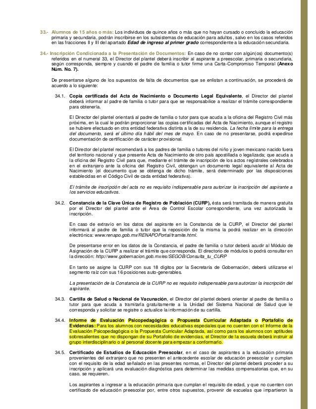 NORMAS DE CONTROL ESCOLAR RELATIVAS A LA INSCRIPCIÓN, REINSCRIPCIÓN, …