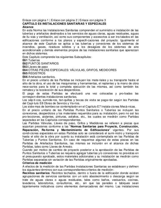 Enlace con página 1 | Enlace con página 2 | Enlace con página 3 CAPÍTULO E6 INSTALACIONES SANITARIAS Y ESPECIALES Alcance ...