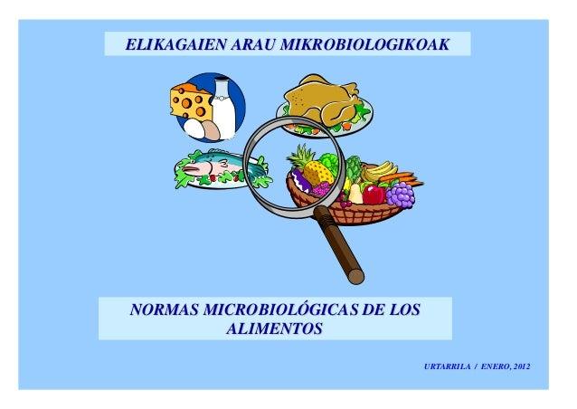 ELIKAGAIEN ARAU MIKROBIOLOGIKOAKNORMAS MICROBIOLÓGICAS DE LOS         ALIMENTOS                                URTARRILA /...