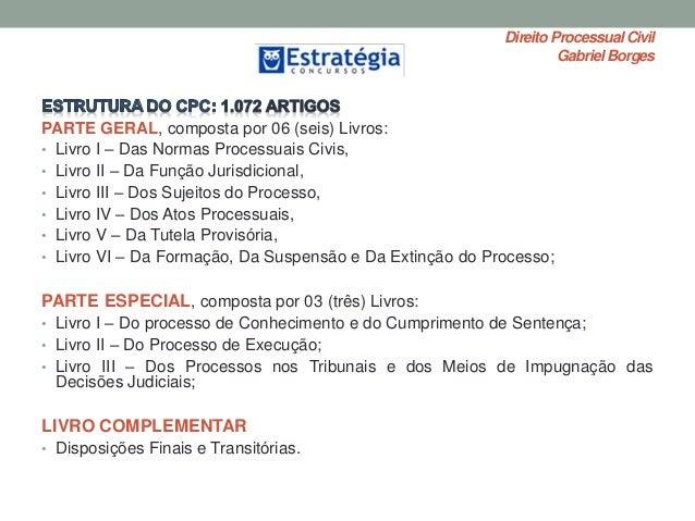 Direito ProcessualCivil Gabriel Borges PARTE GERAL, composta por 06 (seis) Livros: • Livro I – Das Normas Processuais Civi...