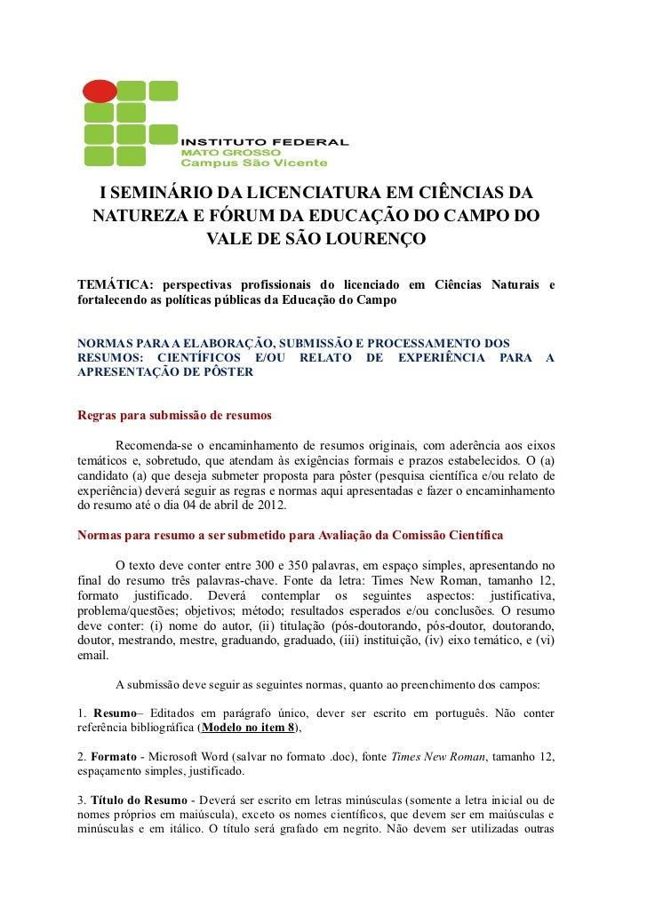 I SEMINÁRIO DA LICENCIATURA EM CIÊNCIAS DA  NATUREZA E FÓRUM DA EDUCAÇÃO DO CAMPO DO              VALE DE SÃO LOURENÇOTEMÁ...