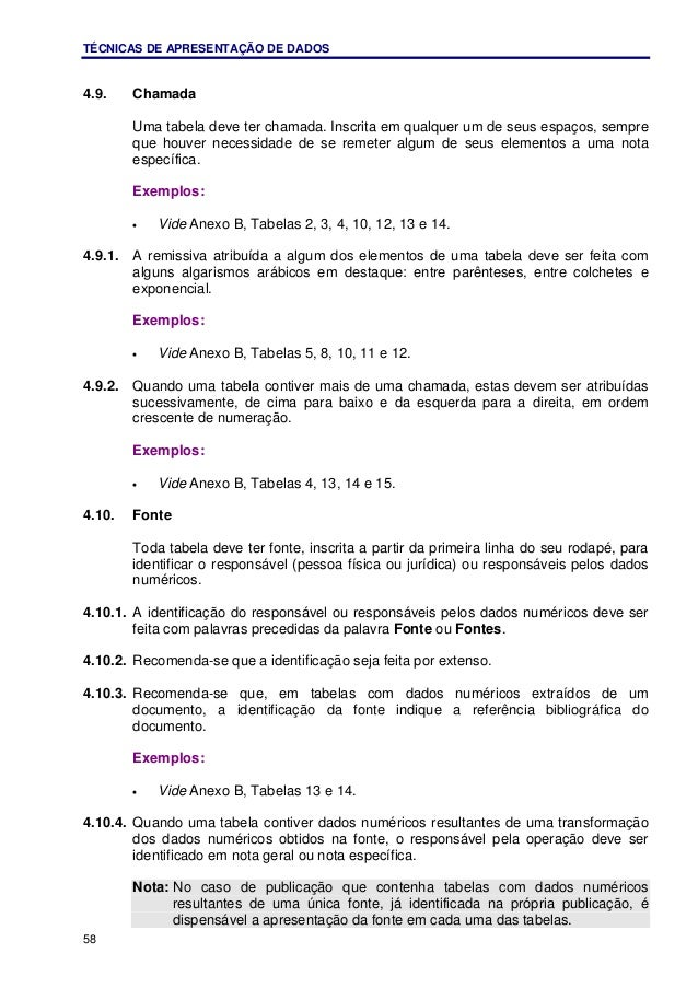 TÉCNICAS DE APRESENTAÇÃO DE DADOS 58 4.9. Chamada Uma tabela deve ter chamada. Inscrita em qualquer um de seus espaços, se...