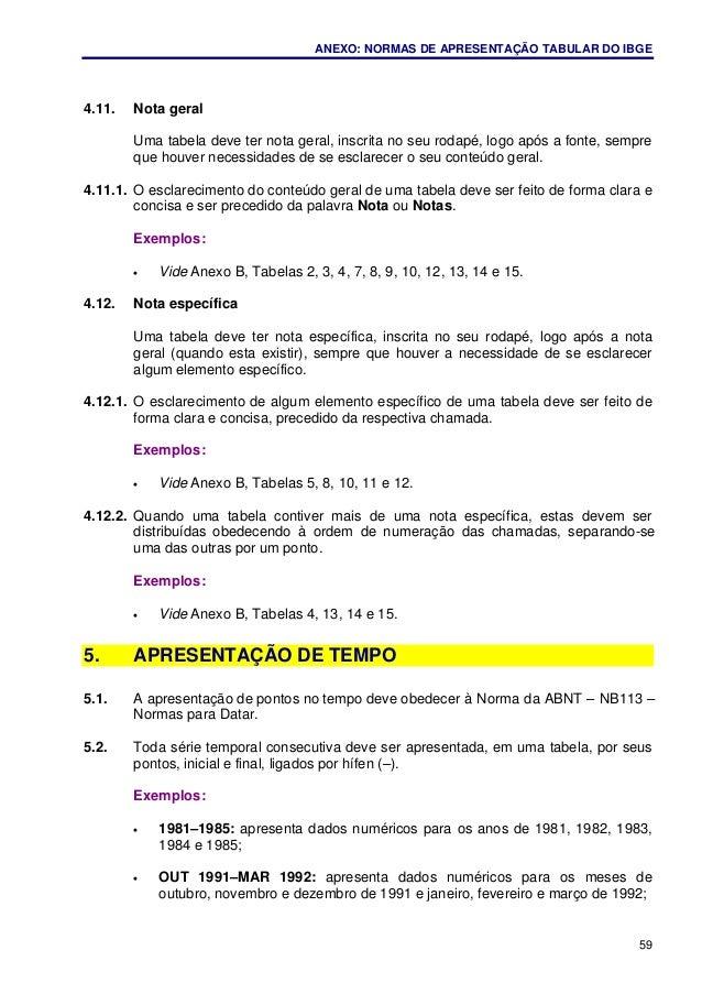 ANEXO: NORMAS DE APRESENTAÇÃO TABULAR DO IBGE 59 4.11. Nota geral Uma tabela deve ter nota geral, inscrita no seu rodapé, ...
