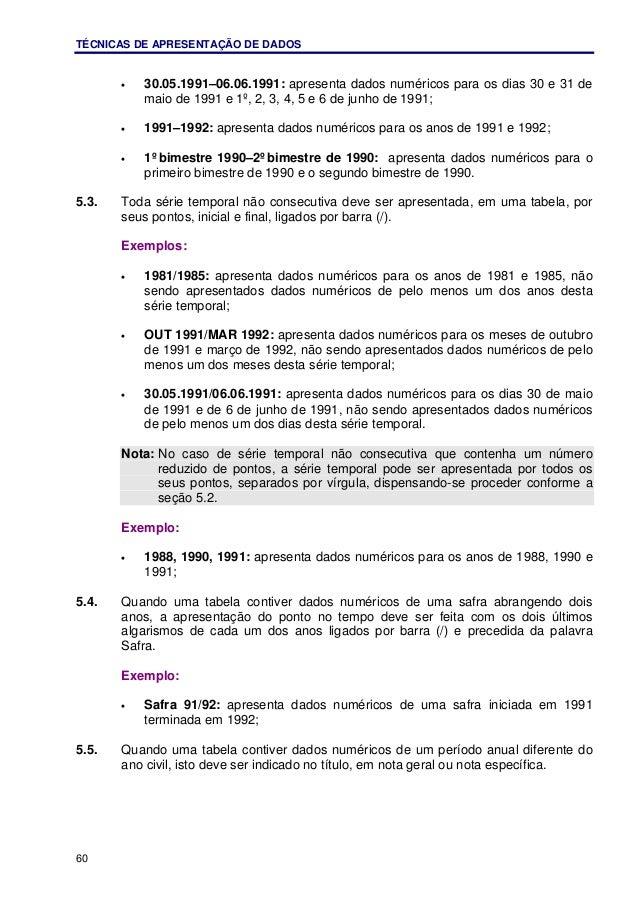 TÉCNICAS DE APRESENTAÇÃO DE DADOS 60 • 30.05.1991–06.06.1991: apresenta dados numéricos para os dias 30 e 31 de maio de 19...