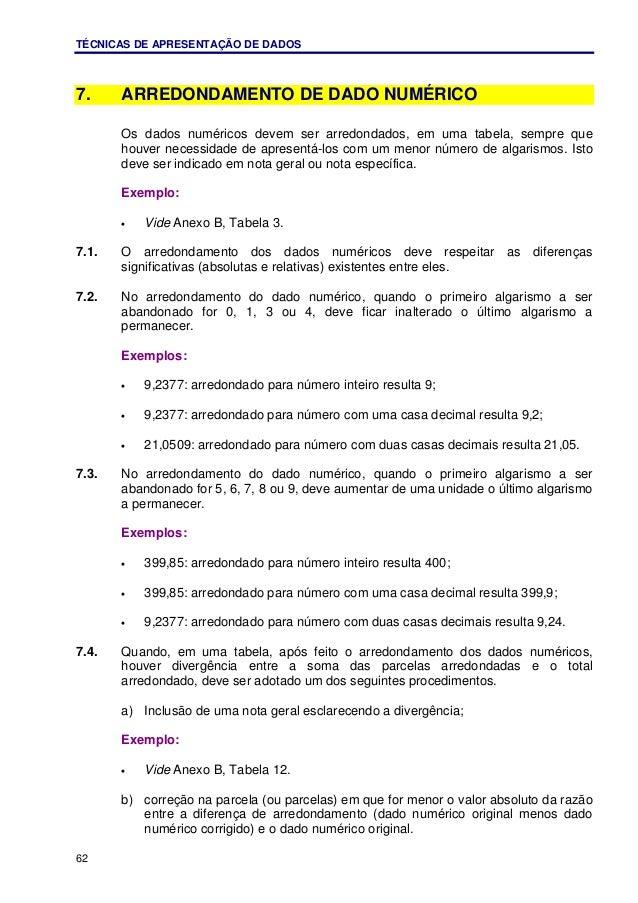 TÉCNICAS DE APRESENTAÇÃO DE DADOS 62 7. ARREDONDAMENTO DE DADO NUMÉRICO Os dados numéricos devem ser arredondados, em uma ...