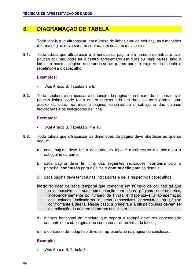 TÉCNICAS DE APRESENTAÇÃO DE DADOS 64 8. DIAGRAMAÇÃO DE TABELA Toda tabela que ultrapassar, em número de linhas e/ou de col...