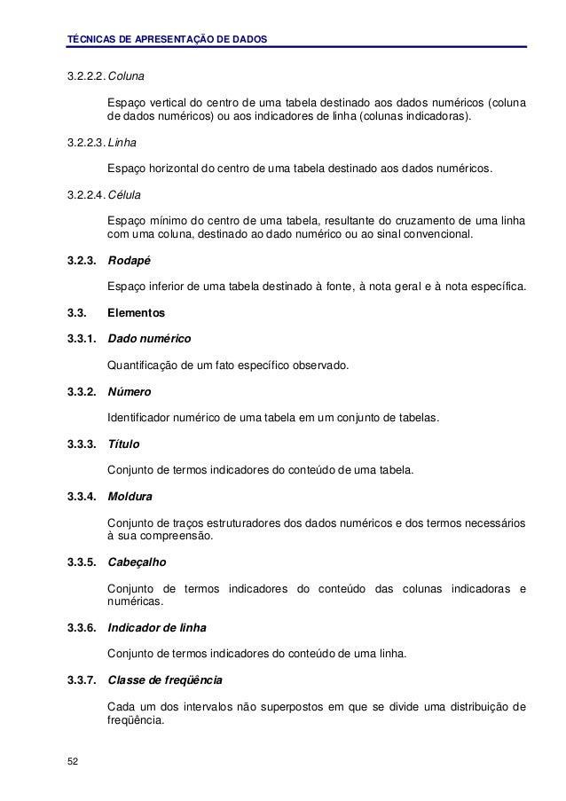TÉCNICAS DE APRESENTAÇÃO DE DADOS 52 3.2.2.2. Coluna Espaço vertical do centro de uma tabela destinado aos dados numéricos...