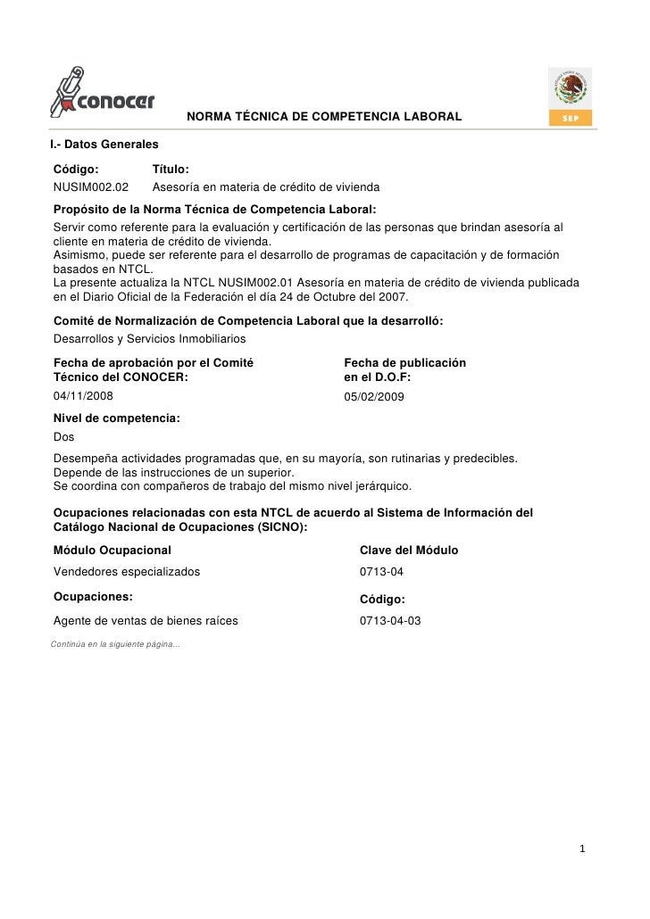 NORMA TÉCNICA DE COMPETENCIA LABORAL  I.- Datos Generales  Código:                   Título: NUSIM002.02               Ase...