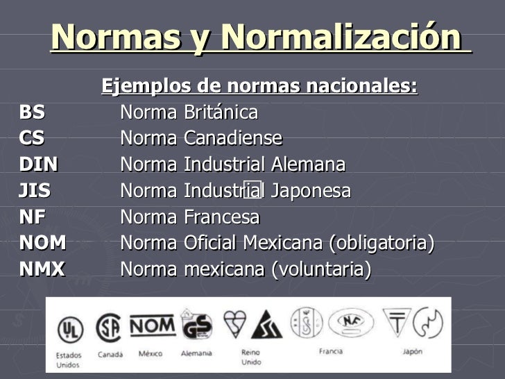 Normas y Normalización  Ejemplos de normas nacionales: BS Norma Británica CS Norma Canadiense DIN Norma Industrial Alemana...