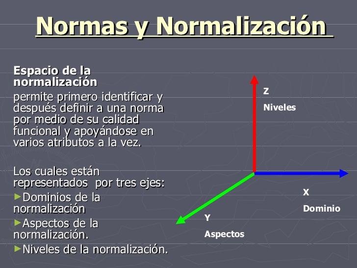 Normas y Normalización  <ul><li>Espacio de la normalización  </li></ul><ul><li>permite primero identificar y después defin...