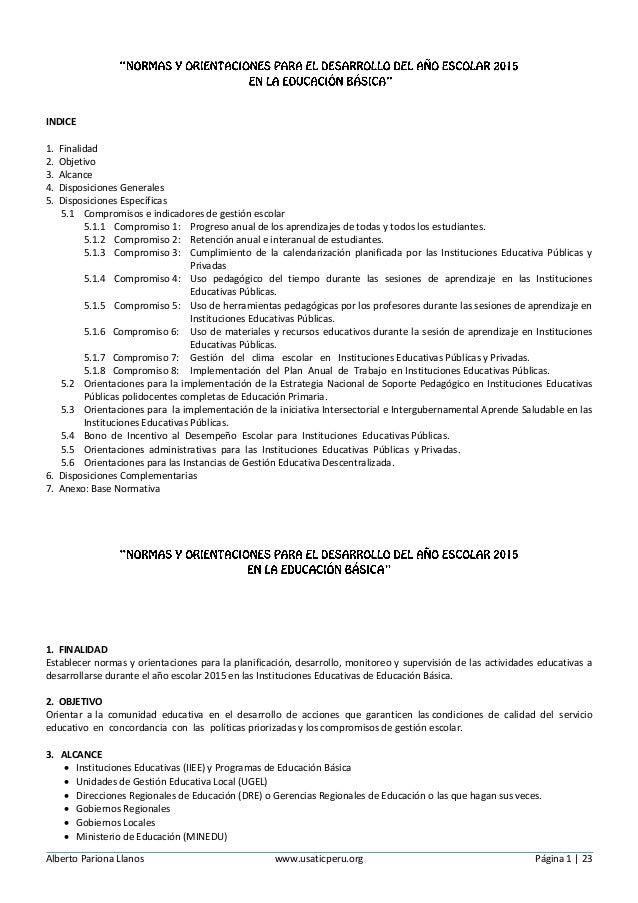 Alberto Pariona Llanos www.usaticperu.org Página 1 | 23 INDICE 1. Finalidad 2. Objetivo 3. Alcance 4. Disposiciones Genera...