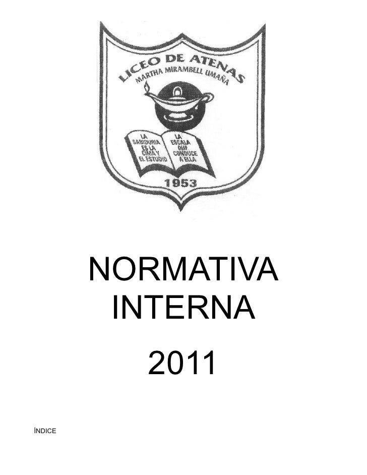 NORMATIVA          INTERNA           2011ÍNDICE