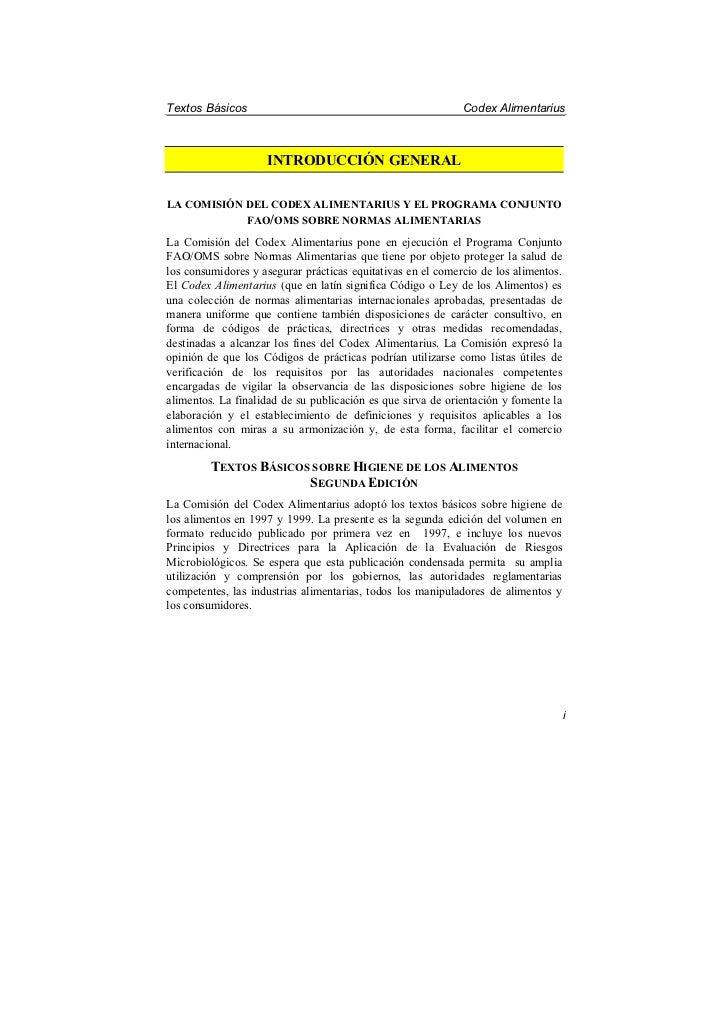 Textos Básicos                                               Codex Alimentarius                    INTRODUCCIÓN GENERALLA ...