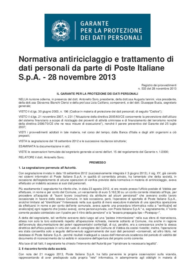 Normativa antiriciclaggio e trattamento di dati personali da parte di Poste Italiane S.p.A. - 28 novembre 2013 Registro de...