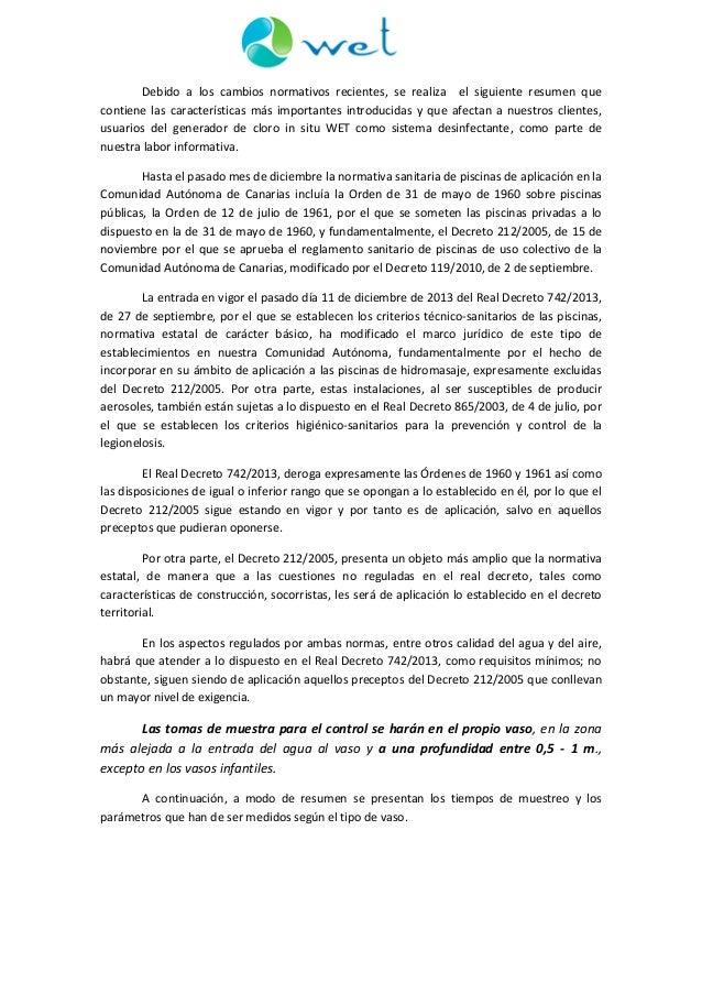 Resumen normativa y valores l mite de par metros f sico for Normativa piscinas canarias