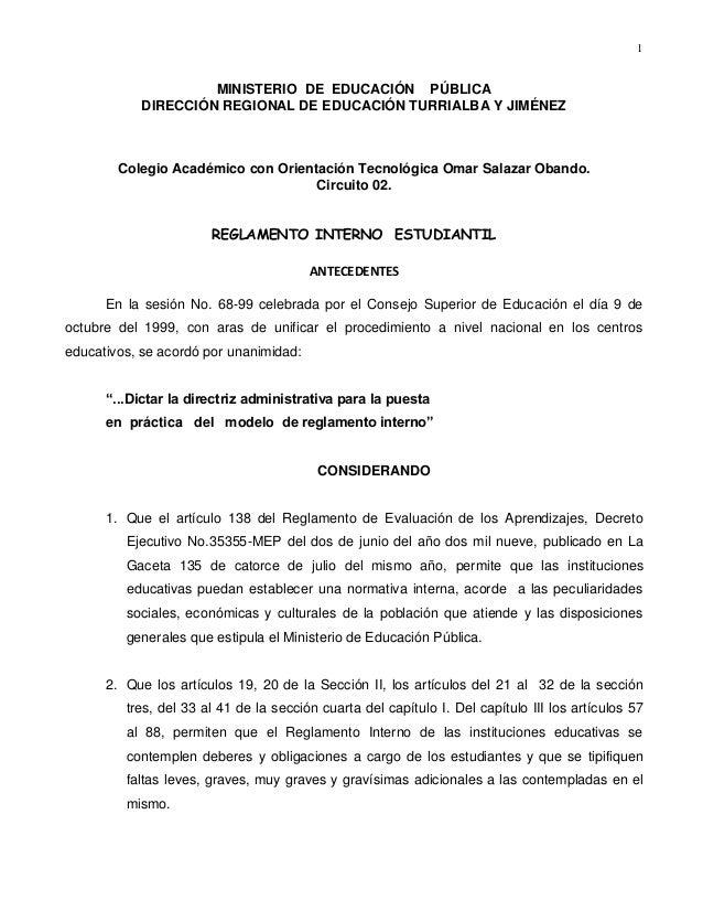 1 MINISTERIO DE EDUCACIÓN PÚBLICA DIRECCIÓN REGIONAL DE EDUCACIÓN TURRIALBA Y JIMÉNEZ Colegio Académico con Orientación Te...